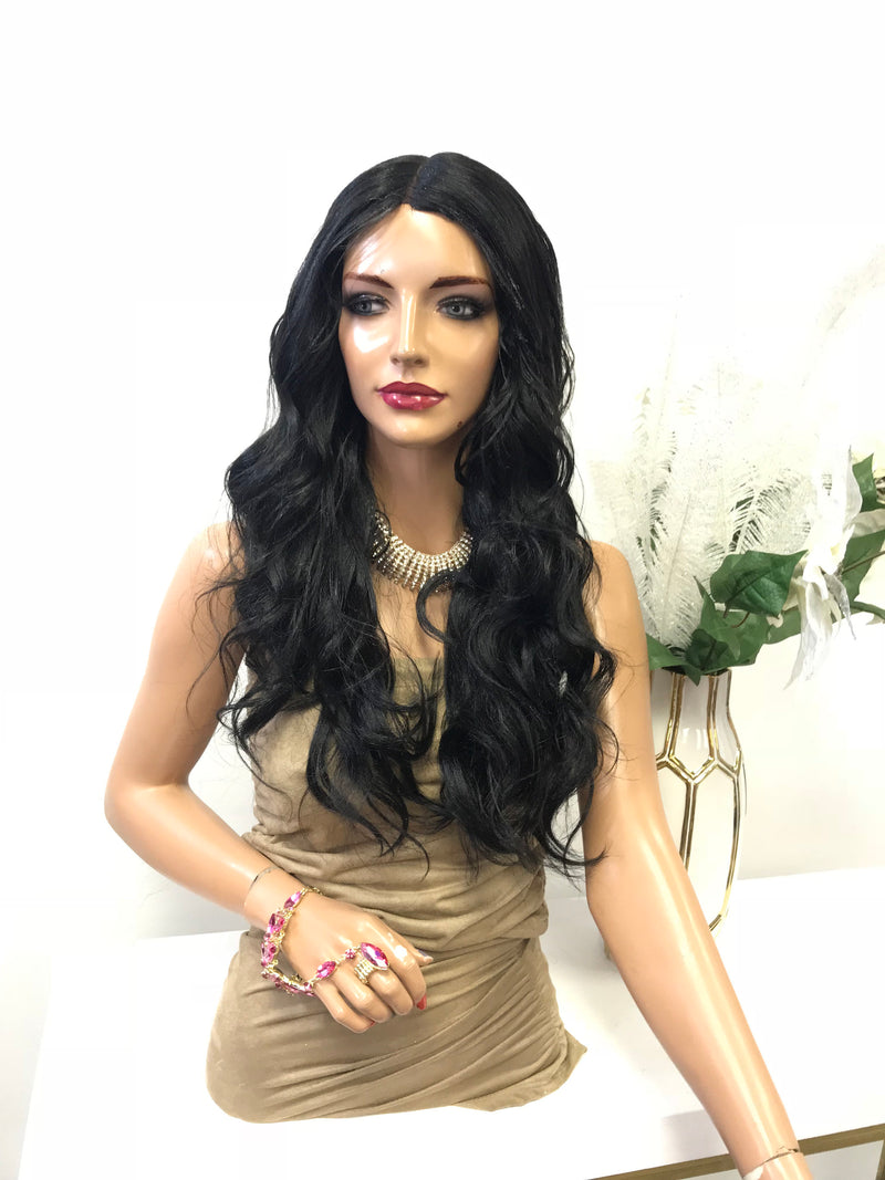 "Black Deep Curls Hair with Middle Part Lace Front Wig 18"" Layered Chole  0119 23"