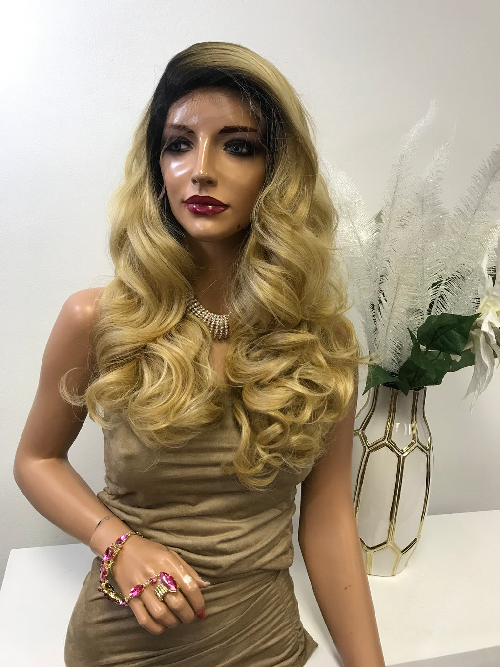 "Blonde Ombre Deep Curls Hair with Side Part Lace Front Wig 18""  Dinah 0119 24"