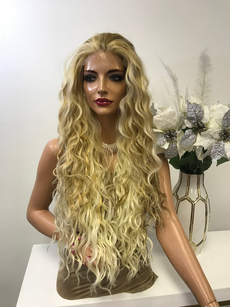 "Blonde Balayage Deep Waves Hair Lace Front Wig 26""  Diana 0119 25"