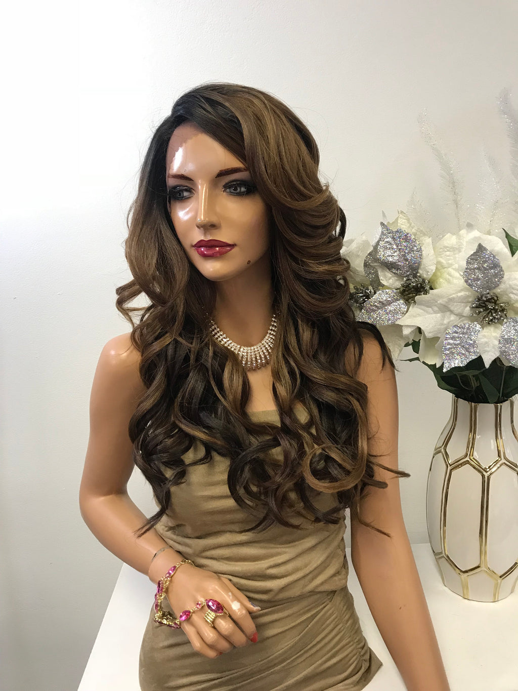 "Brown Balayage Loose Curls Hair Lace Front Wig 18""  Esther 0119 27"