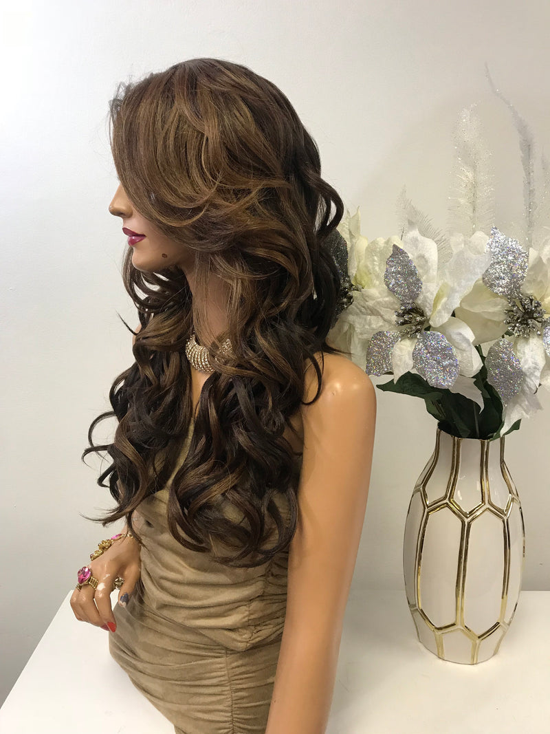 "Brown Balayage Loose Curls Hair Lace Front Wig 18""  Eva 0119 21"