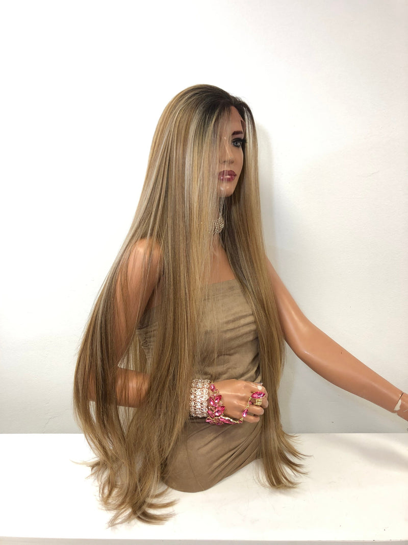 "Blond Balayage Long Straight Hair LACE Front Wig 40""  Sanchez 0119 32"