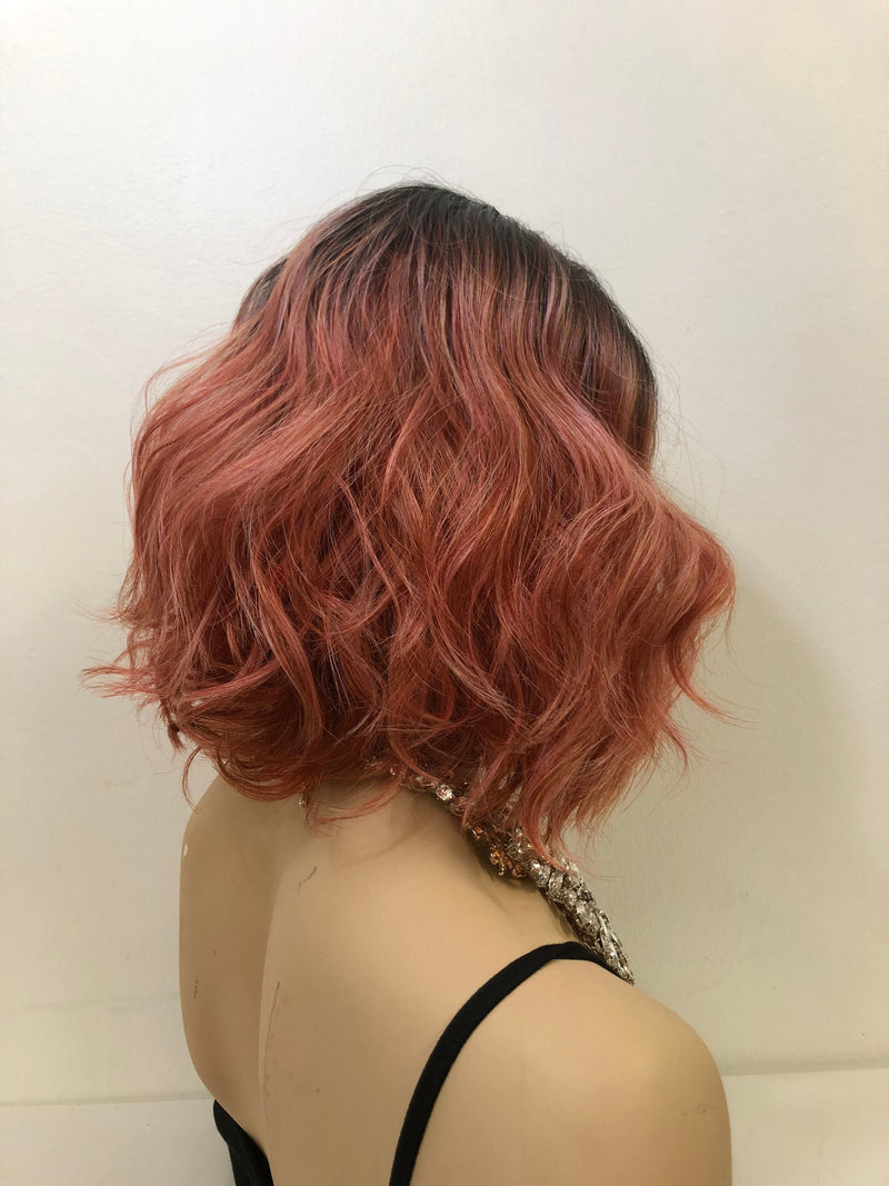 "Pink Short Wavy Hair LACE Front Wig 10""  Cherry Bomb 1 19"