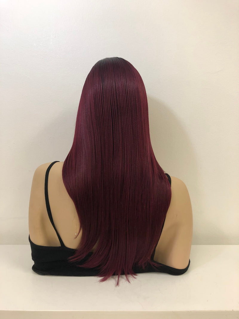 "Burgundy Red Straight Hair LACE Front Wig 18""  Ellana 0119 37"
