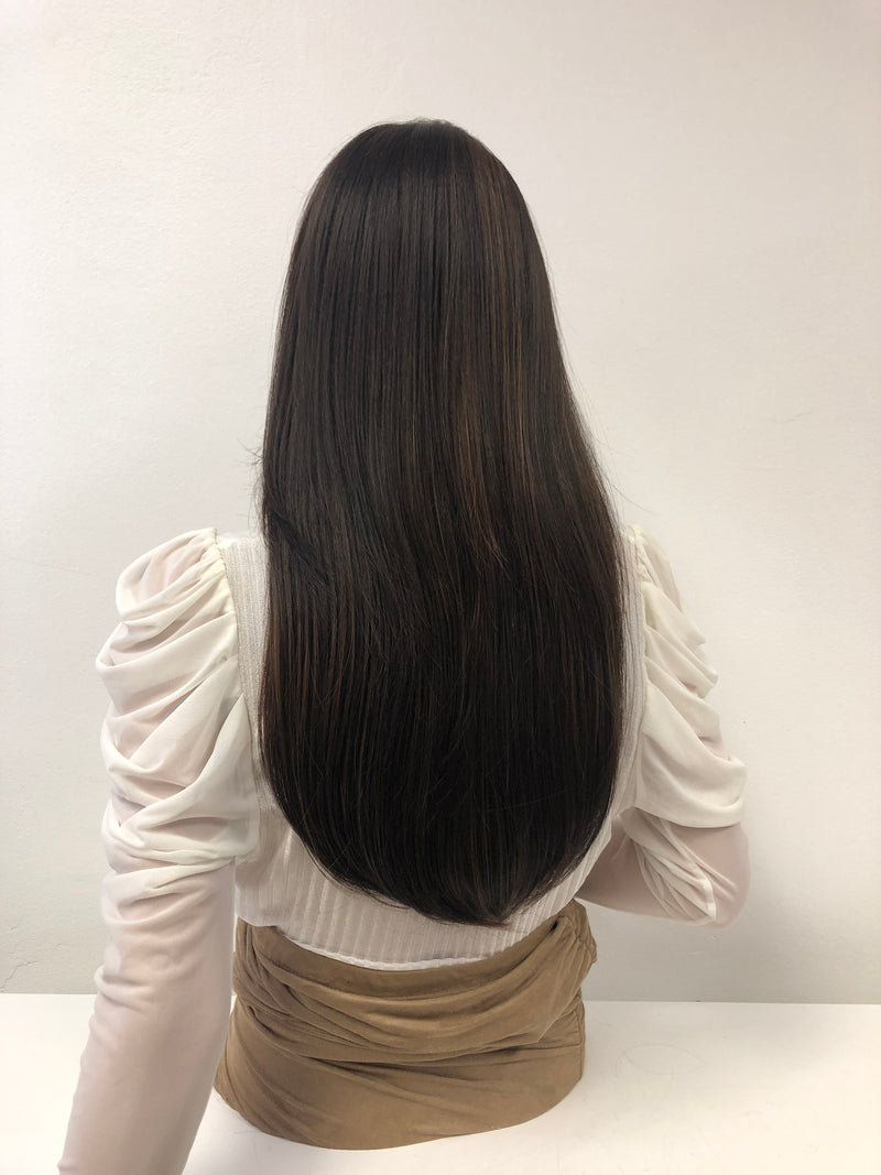 "Black Balayage Volume Straight Hair 13 x 4Lace Front Wig 18""  Renese 0119 38"