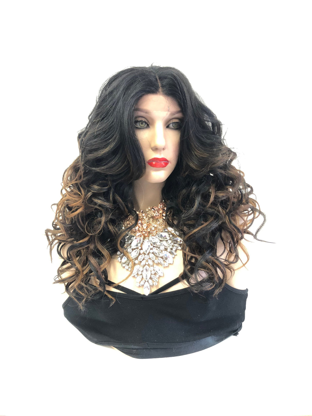 Black Ombre Swiss lace front wig 01 19