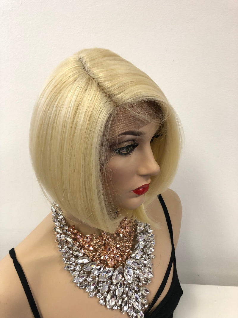 Blond Swiss lace front wig 01 19