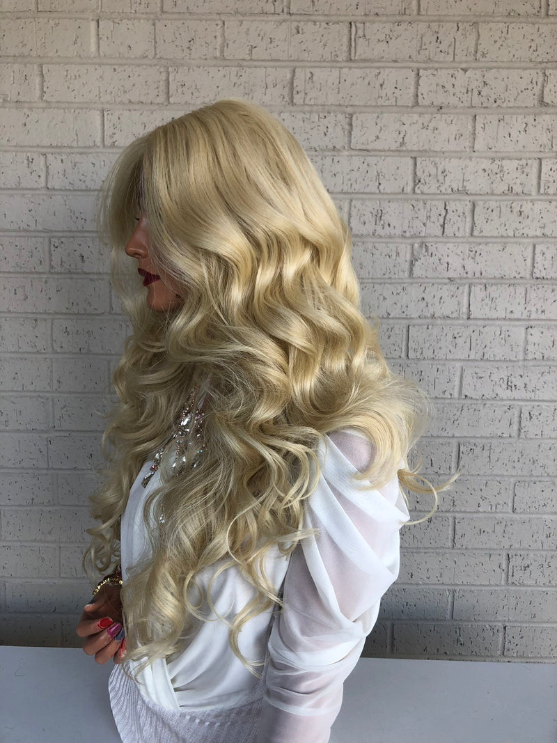 "Blonde Voluminous Curls SWISS Lace Front Wig 18"" Isabelle 319"