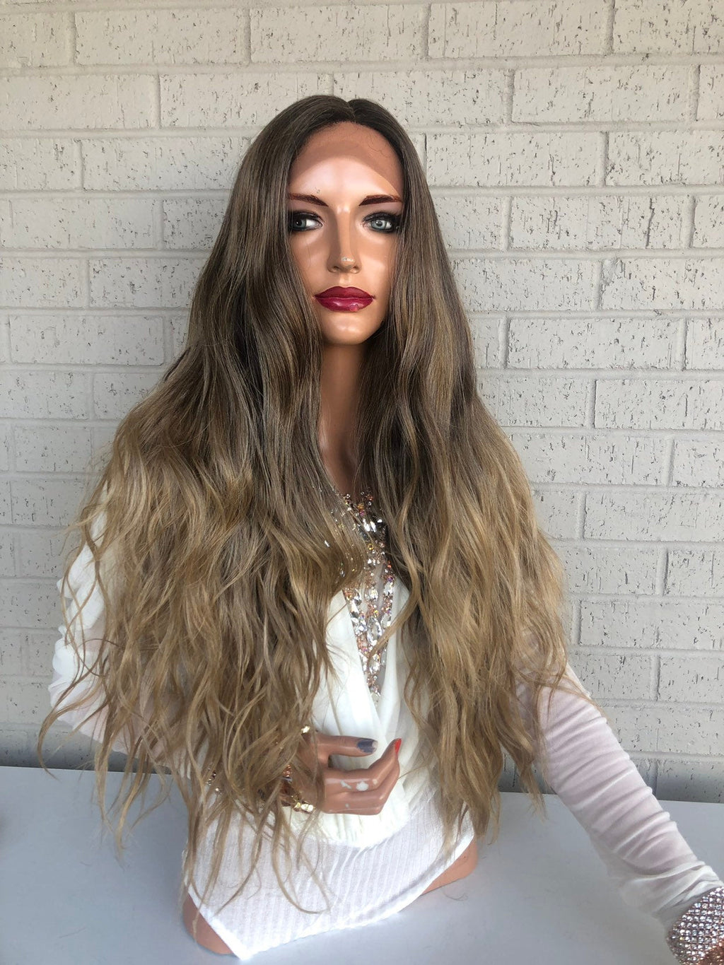 "Balayage Ombre Brown Blonde SWISS Lace Front Wig | 26"" Bay 319"
