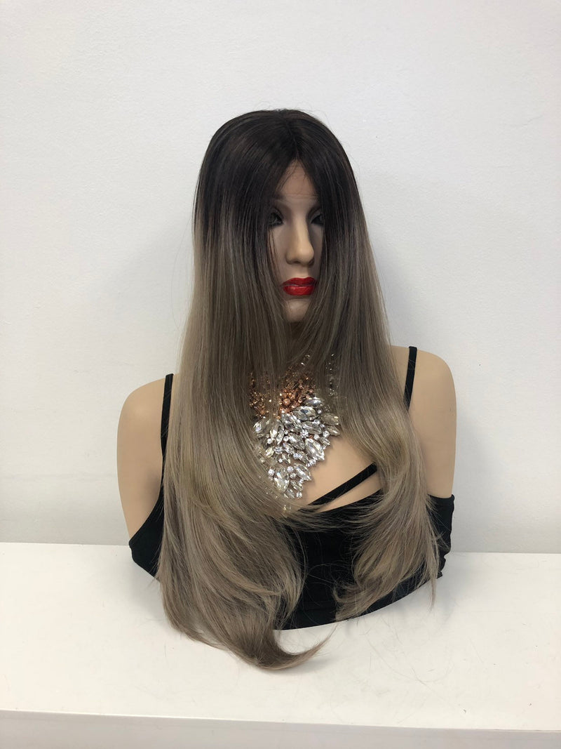 Ash Blonde Swiss Lace Front Wig 22""