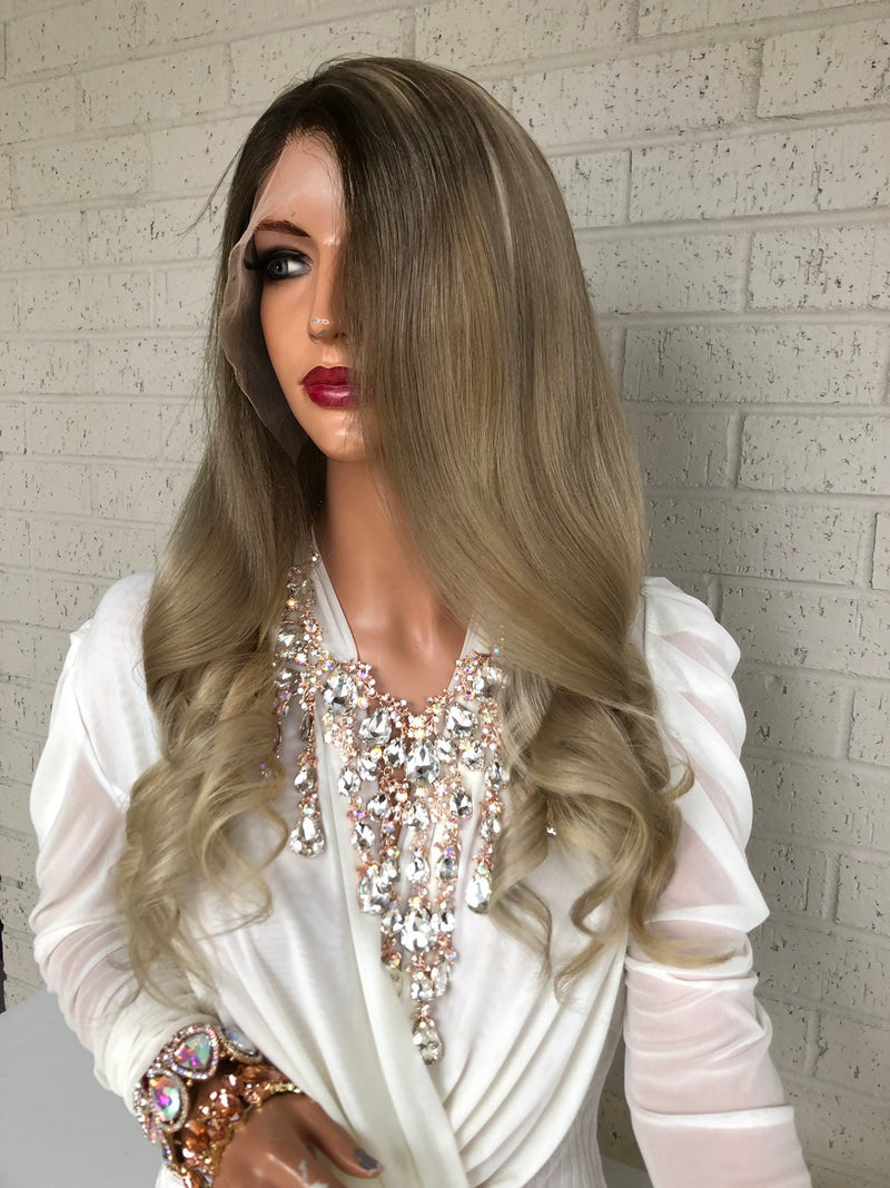 Dark Ash Blond Balayage Full Lace Wig | Mandy