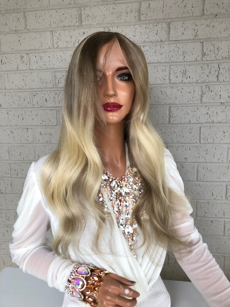 "Ash Blond Balayage Full Lace Wig | Aurelie 18"" Long All Around Lace"