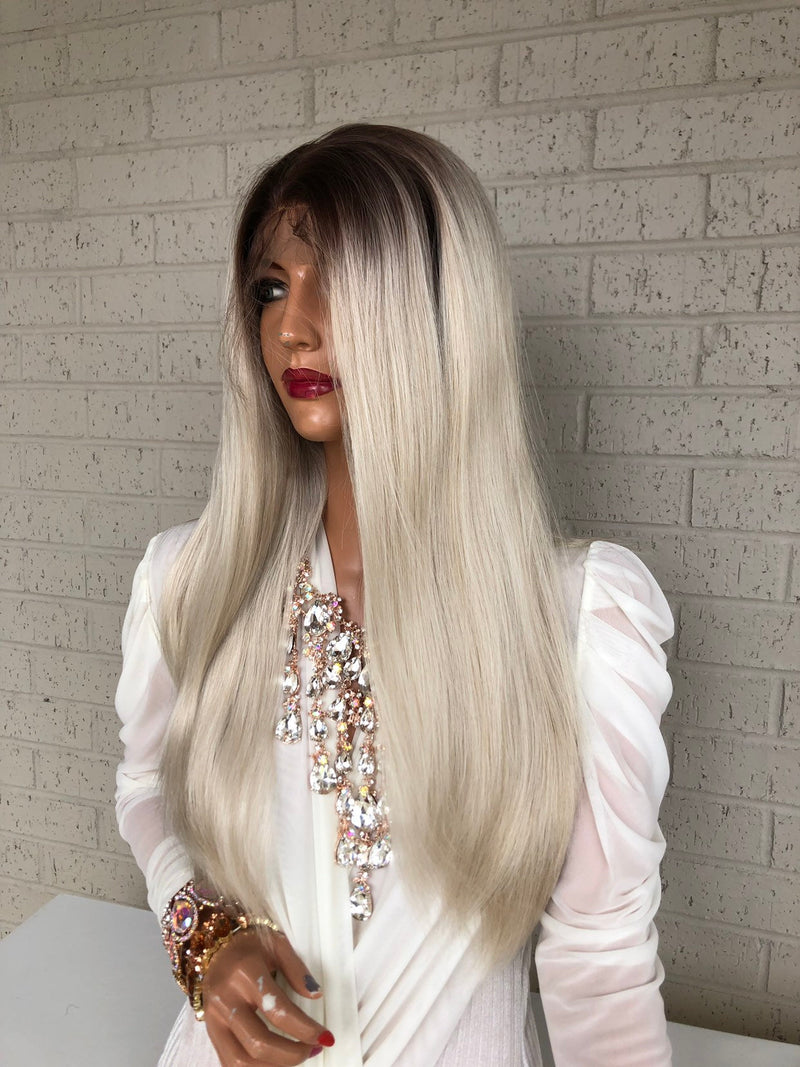 "Ombré  Blonde SWISS Lace Front Wig 18"" Snatched 319 12"