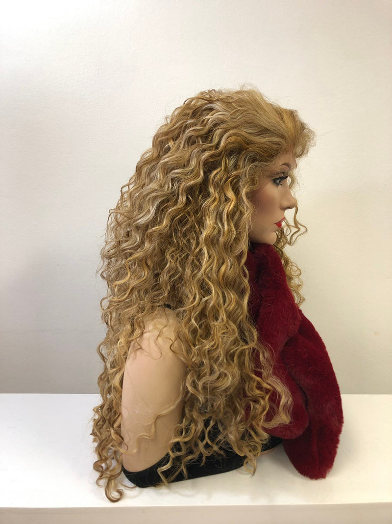 Blond Balayage Hair Swiss Front Lace Wig 30"