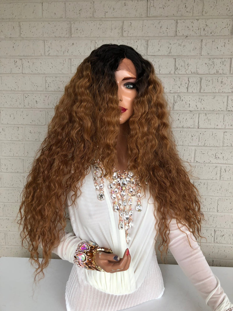 "Brown Ombré Hair SWISS Lace Front Wig 22""  Beauty Queen 319 31"