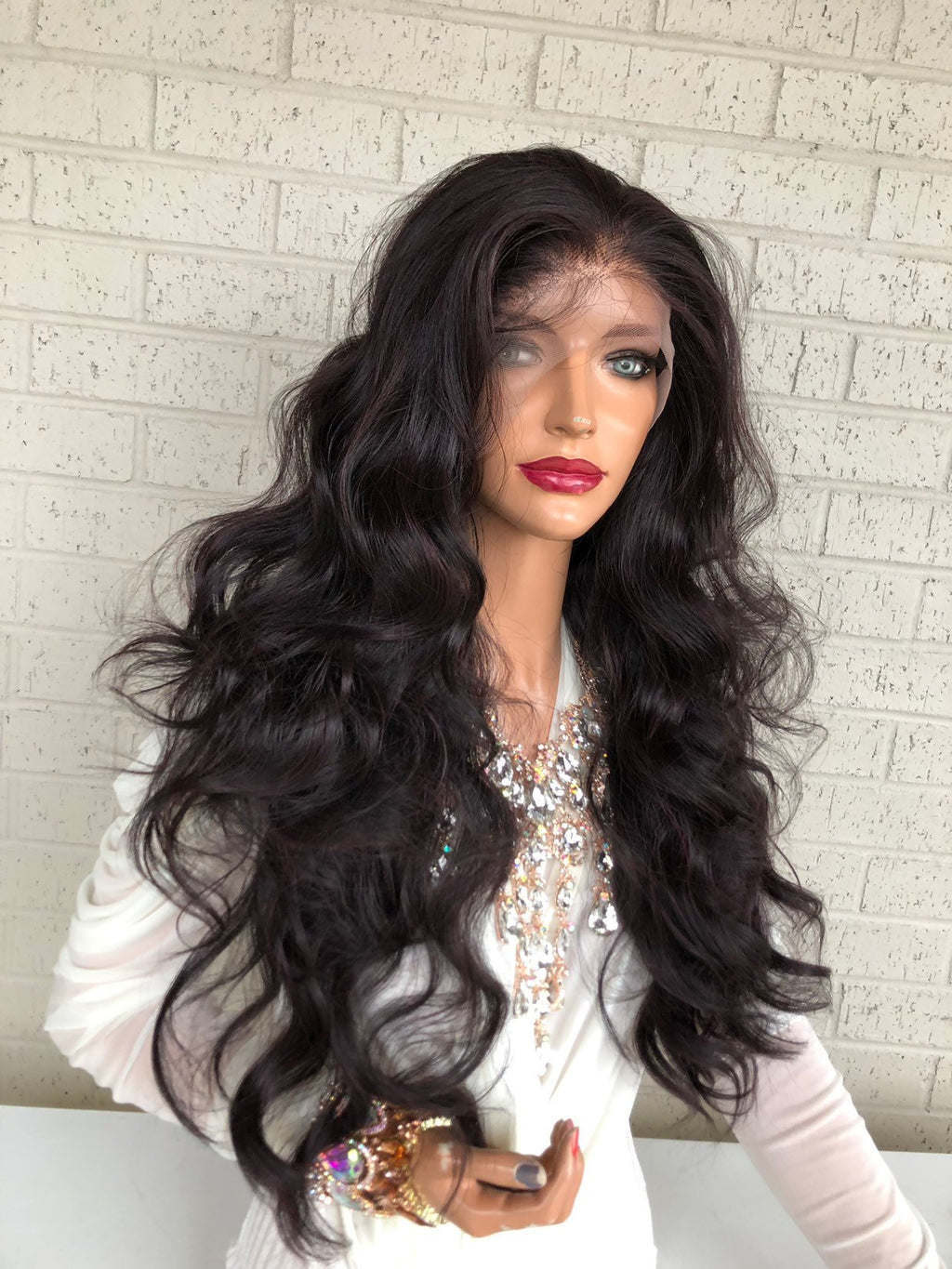 "Purple Burgundy Hair SWISS Lace Front Wig with Multiple Parting 26"" Celestial Queen 319 33"