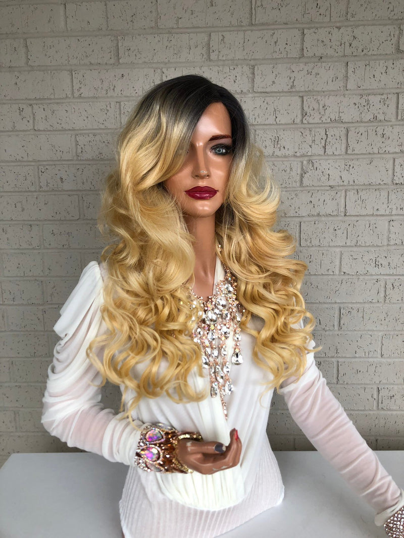 "Ombré  Blonde SWISS Lace Front Wig 16"" Stay Beautiful 0319 34"
