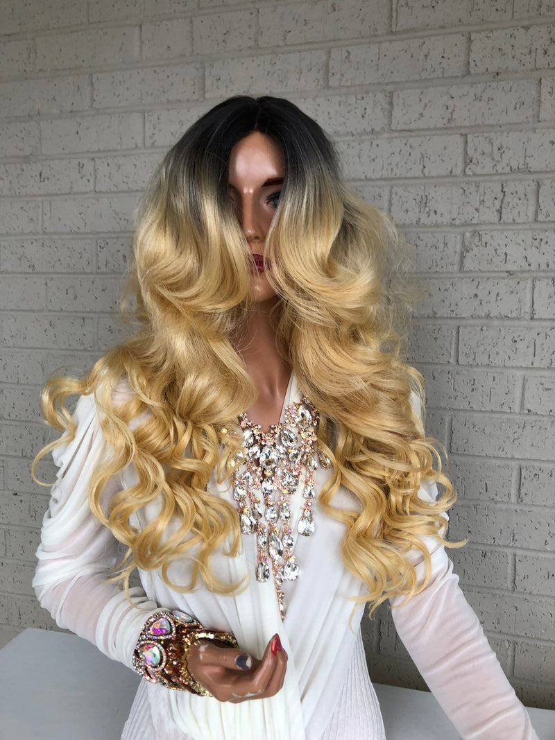 "Ombré  Blonde SWISS Lace Front Wig 16"" Stay Beautiful 319 34"