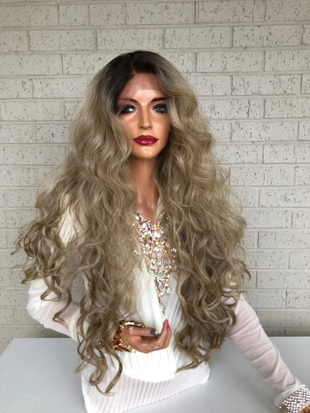 "sale Blonde Ombré Hair SWISS Lace Front Wig 26""  Blind in Love 319 36"