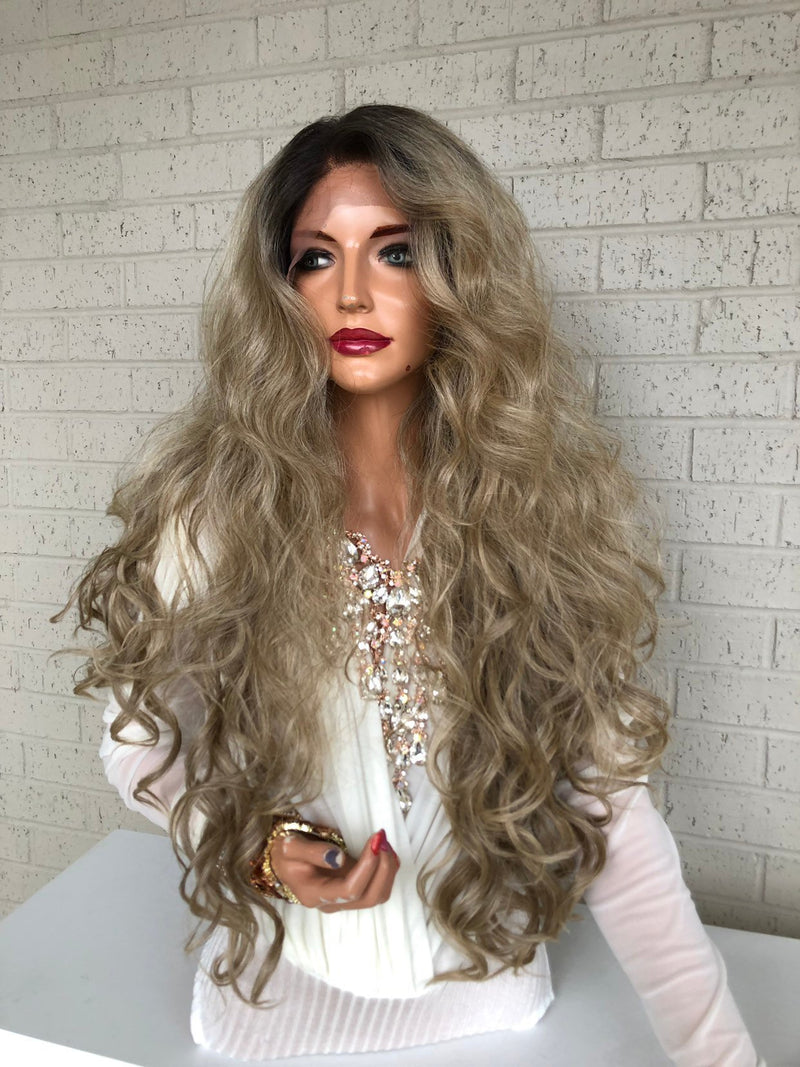 Blonde Ombré Hair SWISS Lace Front Wig 26""