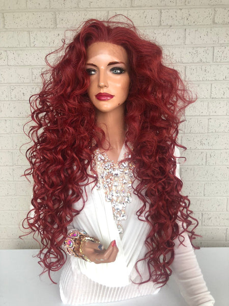 "sale Red Hair SWISS Lace Front Wig 26"" with 1"" Multiple Parting Victories 319 37"