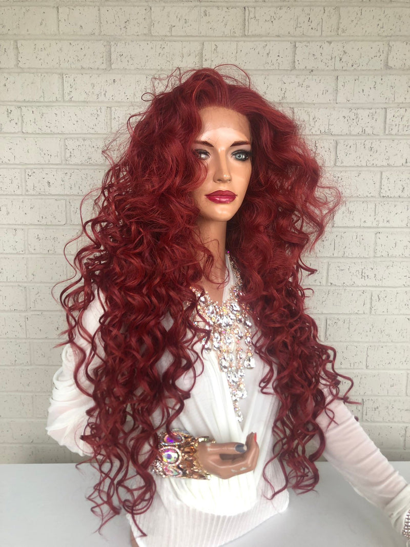 "Red Hair SWISS Lace Front Wig 26"" with 1"" Multiple Parting Victories 0319"