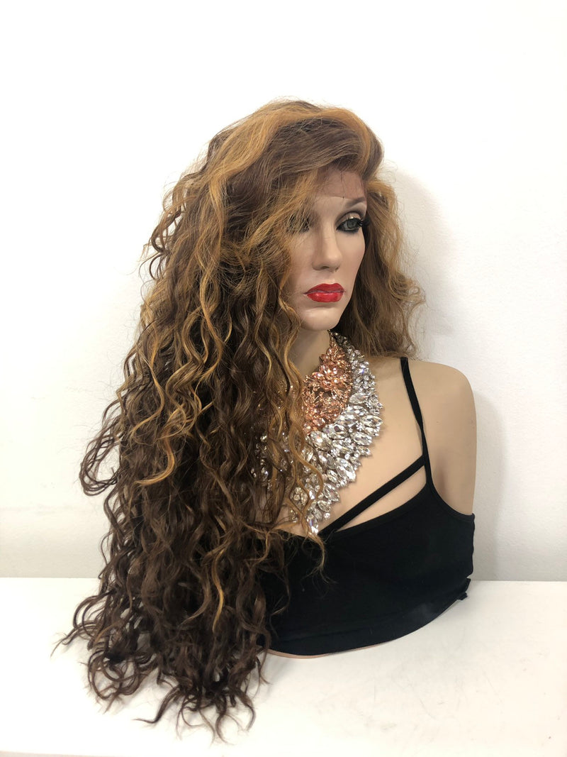 Blond Brown Ombré Balayage Swiss Front Lace Wig | Long Soft Layered Hair | Liya 0219 31