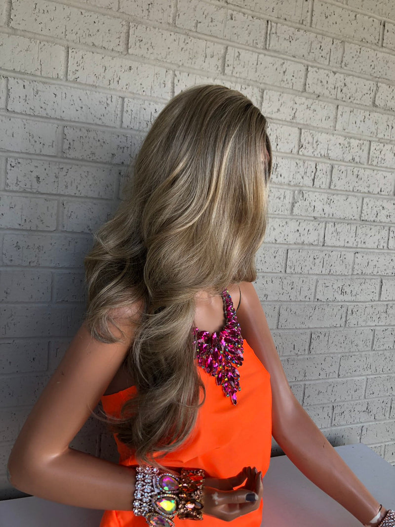 Blonde Balayage Hair with Brown Ombré Roots 0419 6