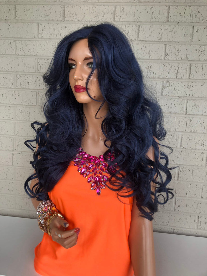 Indigo Blue Hair Wig with long layers 419
