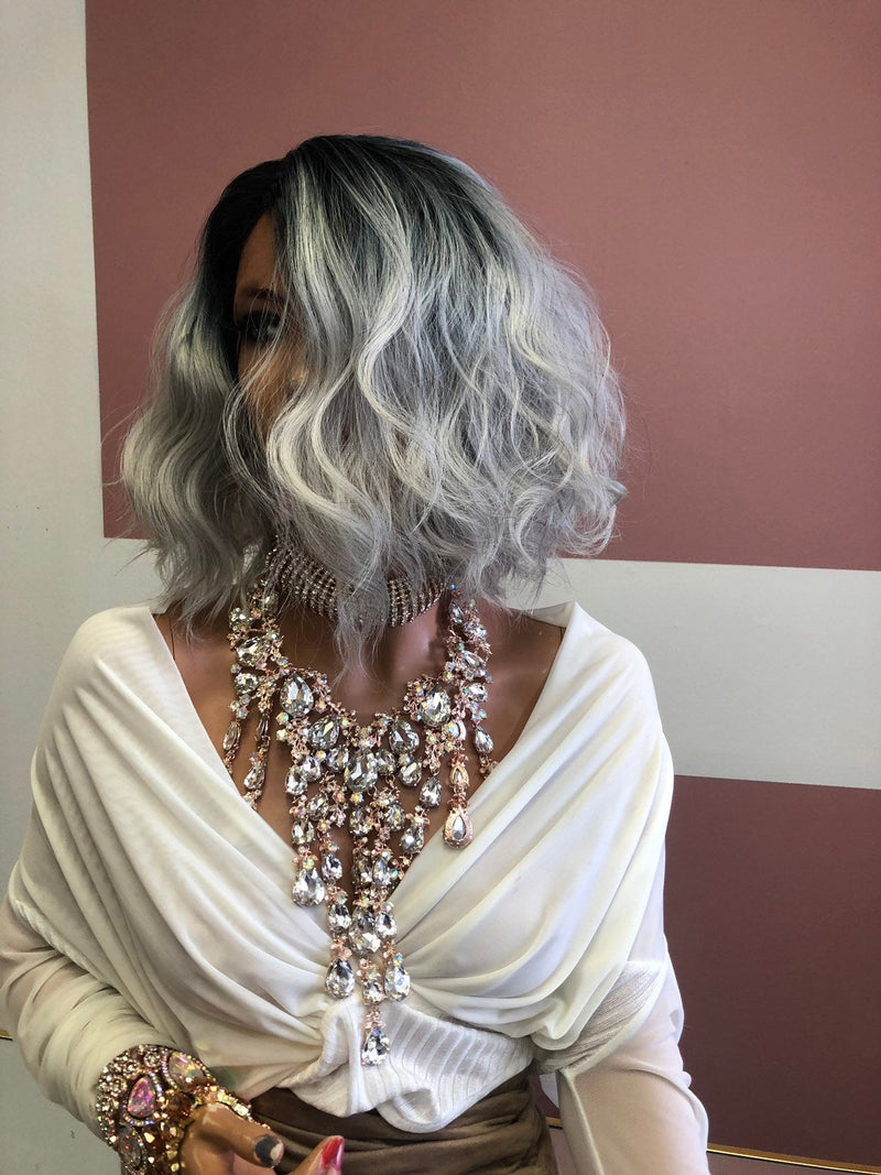 "Grey Swiss Lace Front Wig 8"" 219 