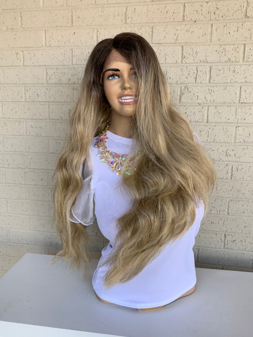 Ash Blonde Balayage Hair Wig with Brown Ombré Roots 419 | Erinn 26""