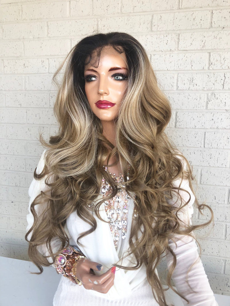 360 Free Parting Balayage Ombre Brown Blonde SWISS Lace Front Wig | 26