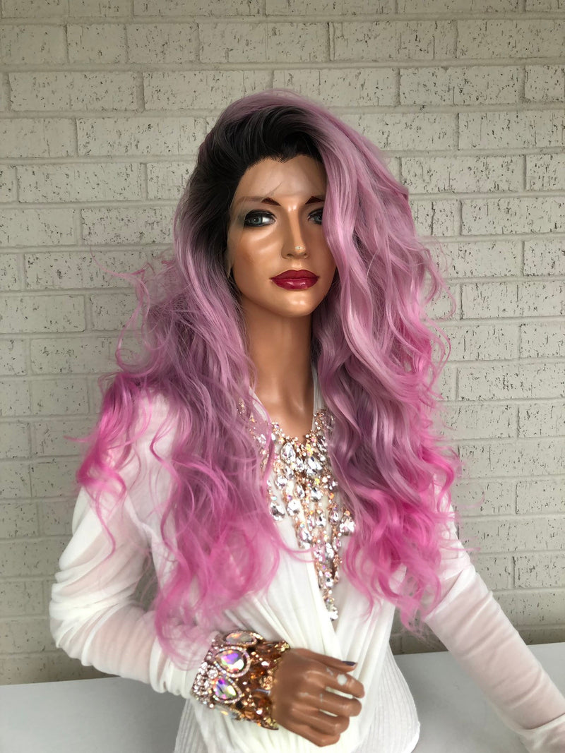 "Pink Black Ombré SWISS Lace Front Wig 18"" Keep On Living 319 11"