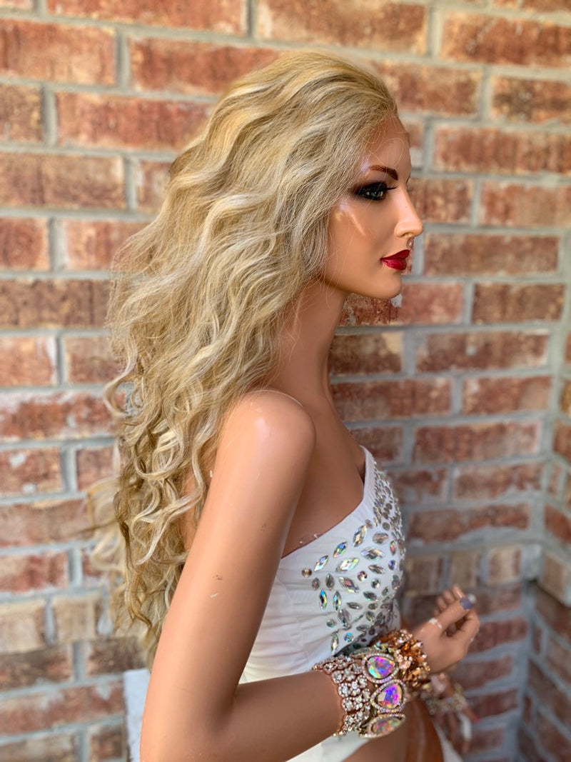 "Latte Blond Lace Hair Wig | 2"" Multi Parting 