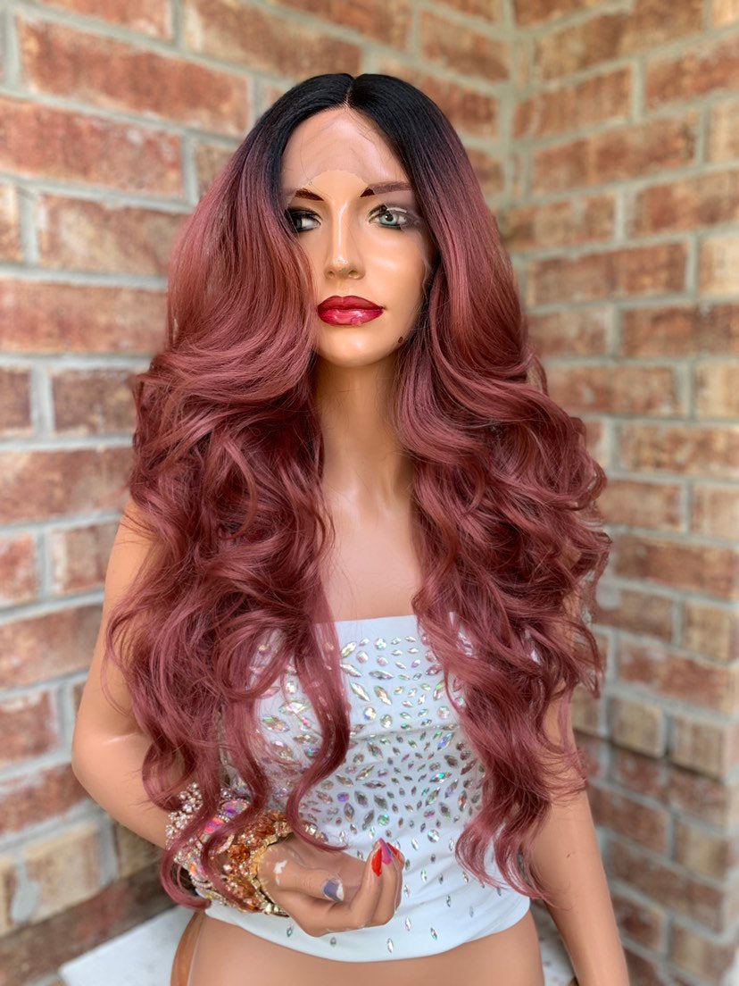 Ombre Rose Pink Lace Hair Wig | Invisible Parting | Beautiful Rose 0519
