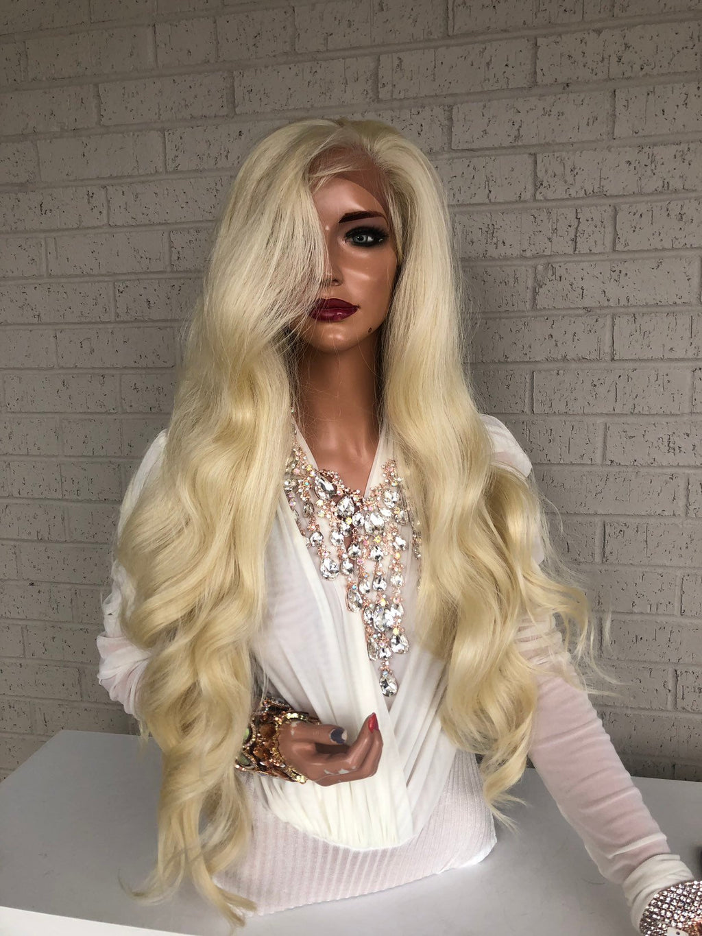 "Blonde Hair SWISS Lace Frontal Wig 30"" with 360 All Around Multiple Parting Always Hold Me Closely 319 35"