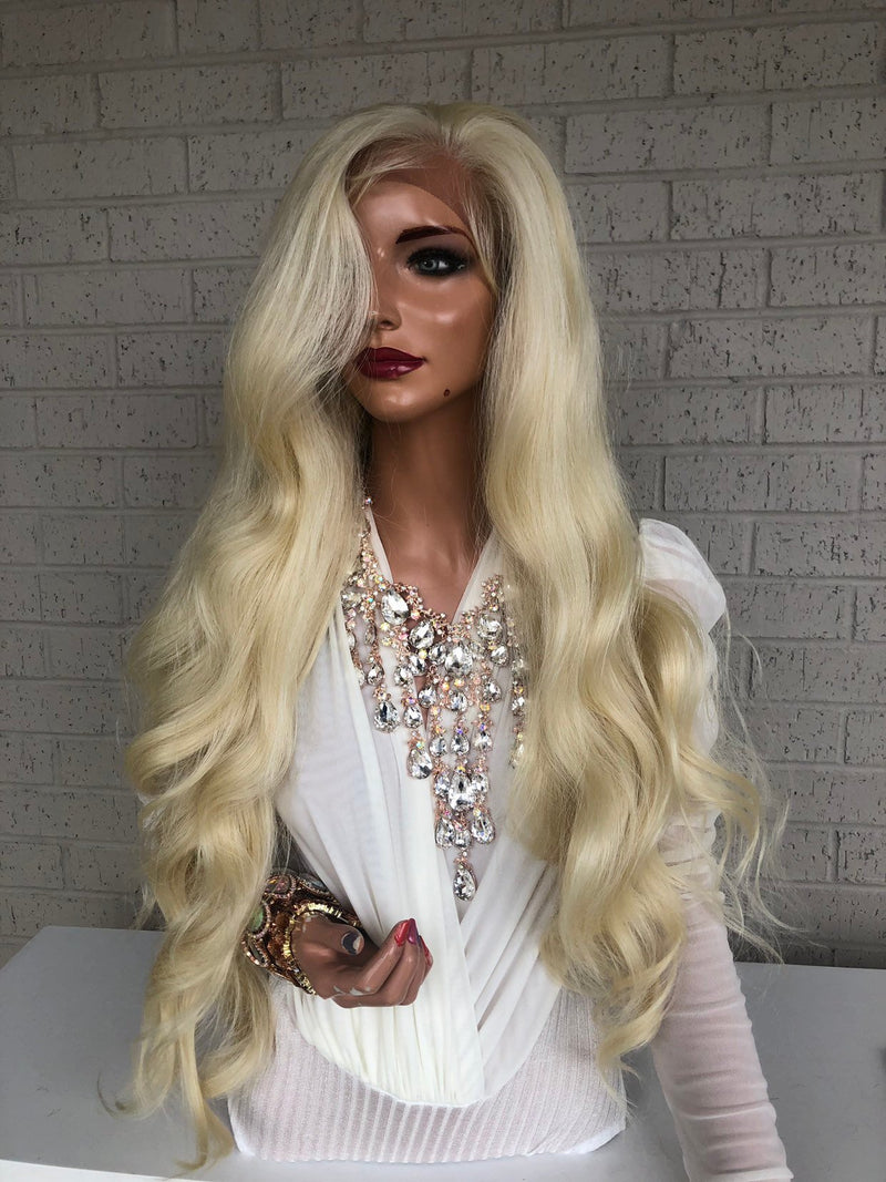 "Blonde Hair SWISS Lace Frontal Wig 30"" with 360 All Around Multiple Parting Always Hold Me Closely 0319"