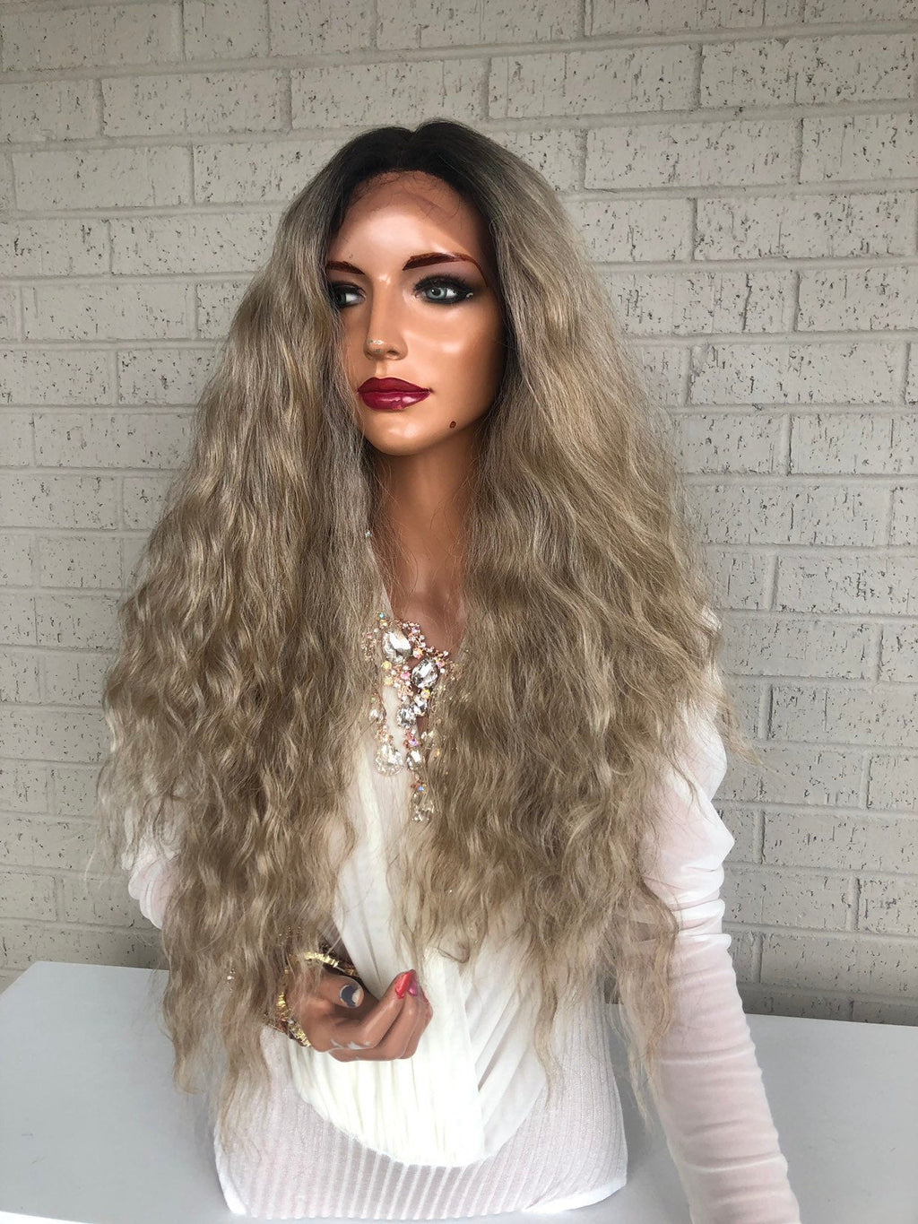 "sale Blonde Ombré Hair SWISS Lace Front Wig 26""  Golden Goddess 319 38"