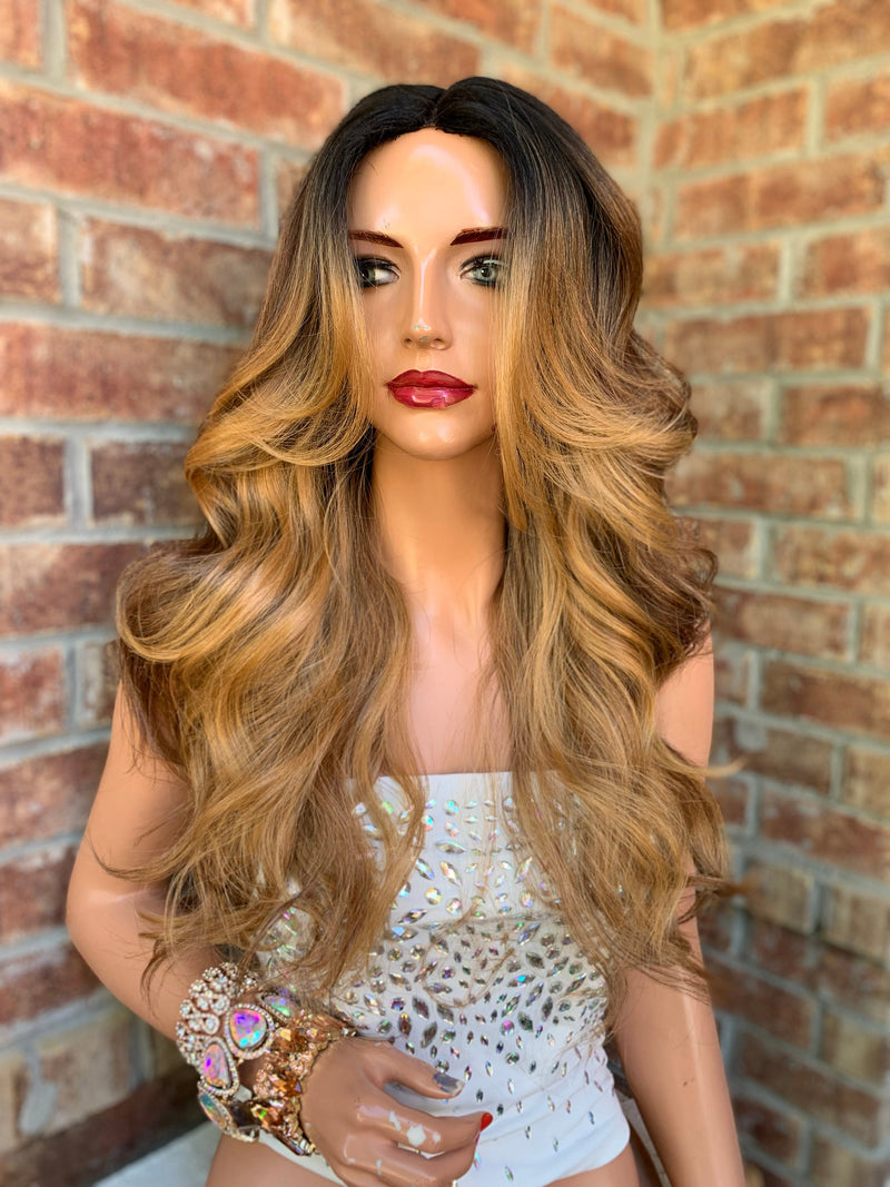 Blonde Balayage Lace Part Hair Wig | Invisible Middle Parting | Joy 0519