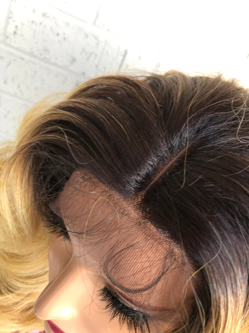 Light Blonde Balayage Hair with Brown Ombré Roots 419 8