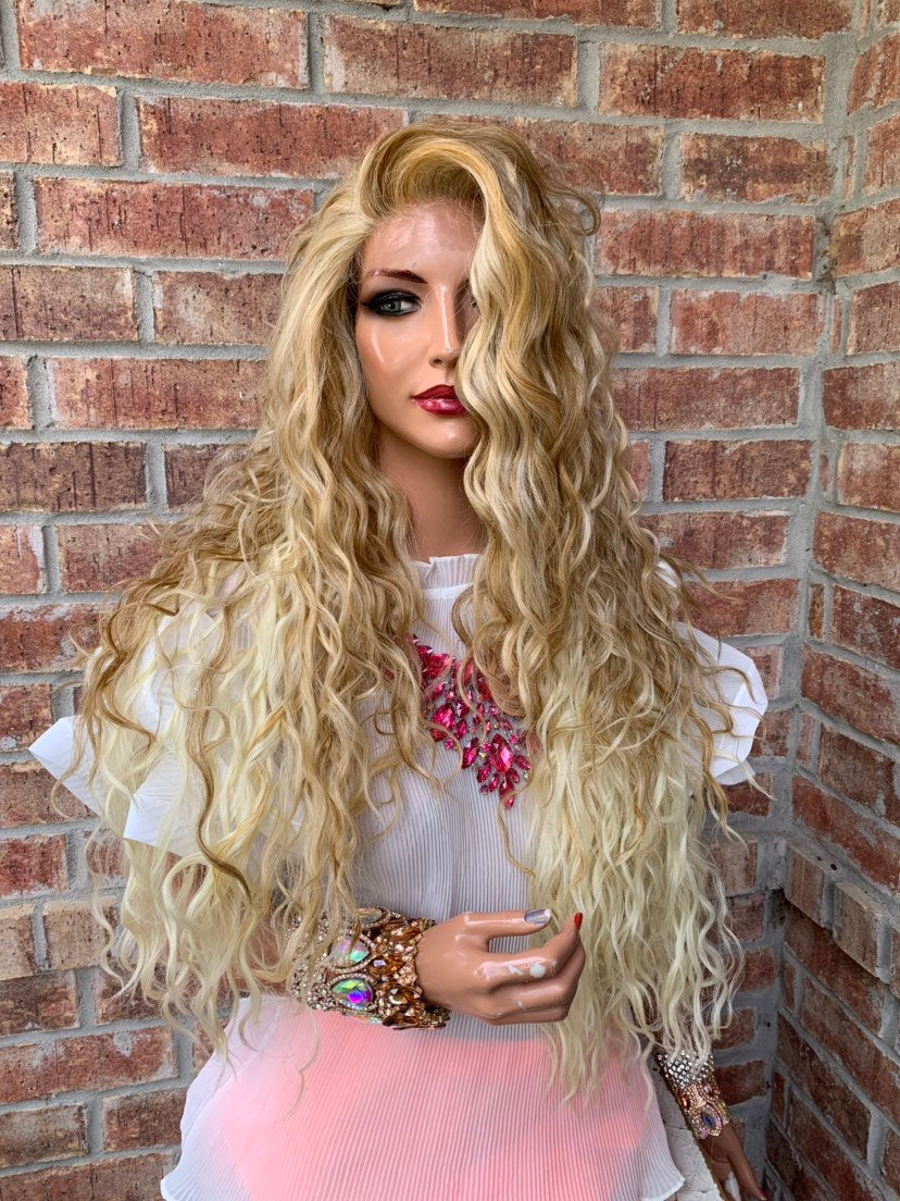 "Blonde Balayage Hair SWISS Lace Front Wig 26""  Gold Goddess 419 19"