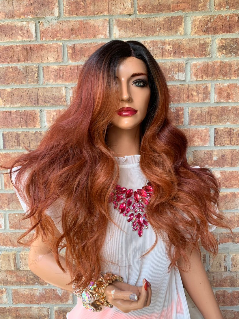 Red Balayage Hair with Dark Brown Ombré Roots 419