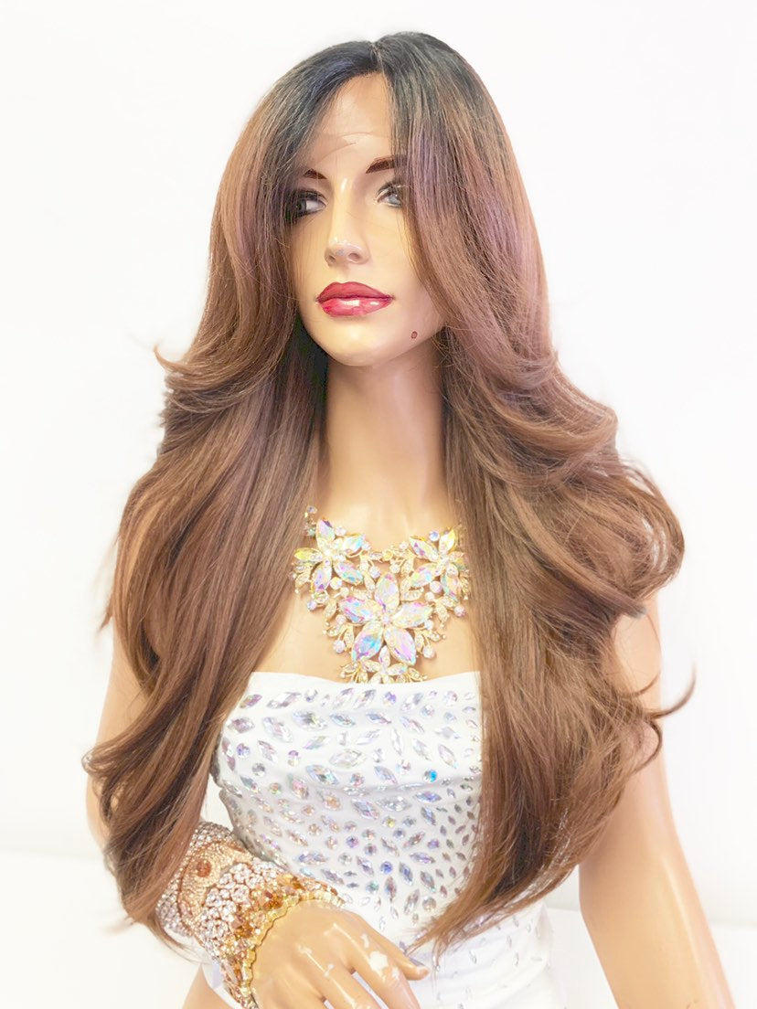 "Brown Ombré SWISS Lace Front Wig 10"" with 4x4 free parting 619"