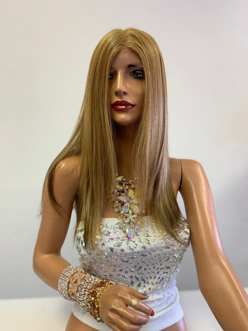 "Balayage Honey Blonde SWISS Lace Front Wig 14"" 0619"