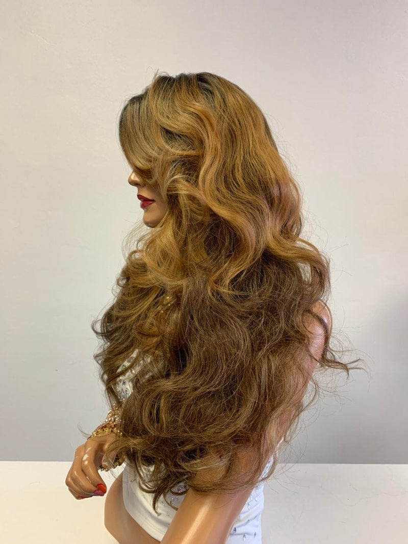 "Balayage Ombré Honey Brown Blonde SWISS Lace Front Wig 26"" 0619"