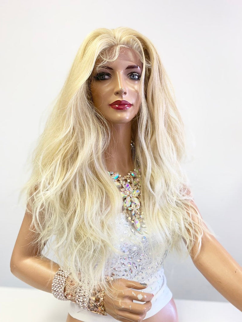 "Blonde SWISS Lace Front Wig 20"" with 360' all around deep multi parting 619"