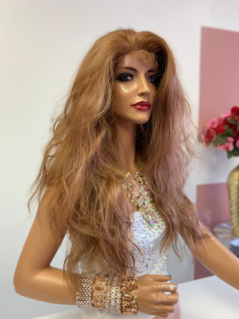 "Dark Blonde SWISS Lace Front Wig 20"" with 360' all around deep multi parting 619"