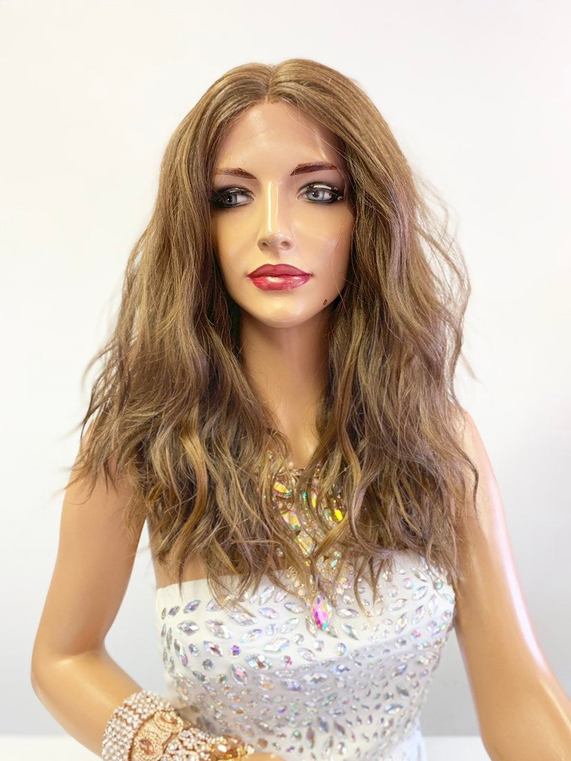"Brown Balayage Wavy SWISS Lace Front Wig 12"" 0619"