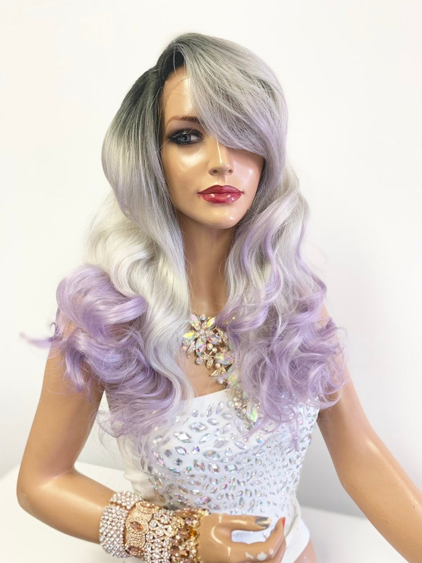 "Gray purple ombre Lace Front Wig 14"" with deep side parting 619"