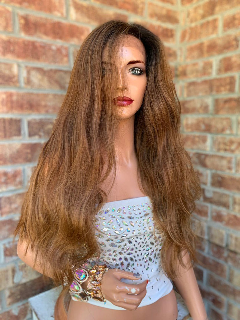Ombre Brown Honey Lace Hair Wig | Invisible Free Parting | Beauty for Ashes 0519